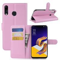 Litchi PU kožené pouzdro na Asus Zenfone 5 ZE620KL - růžové