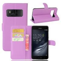 Graines PU kožené pouzdro na mobil Asus Zenfone AR ZS571KL - fialové