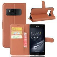 Graines PU kožené pouzdro na mobil Asus Zenfone AR ZS571KL - hnědé