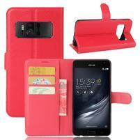 Graines PU kožené pouzdro na mobil Asus Zenfone AR ZS571KL - červené