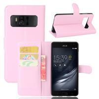Graines PU kožené pouzdro na mobil Asus Zenfone AR ZS571KL - růžové