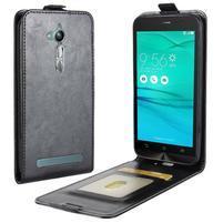 Flipové PU kožené pouzdro na mobil Asus Zenfone Go ZB500KL - černé