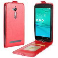 Flipové PU kožené pouzdro na mobil Asus Zenfone Go ZB500KL - červené