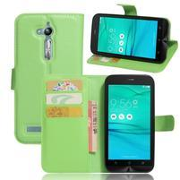 Leathy PU kožené pouzdro na Asus Zenfone Go ZB500KL - zelené