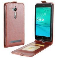 Flipové PU kožené pouzdro na mobil Asus Zenfone Go ZB500KL - hnědé