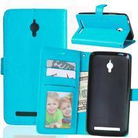 Crazy PU kožené pouzdro na Asus Zenfone Go ZC500TG - modré
