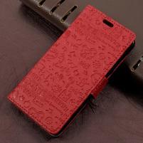 Cartoo zapínací peněženkové pouzdro na Asus Zenfone Live ZB501KL - červené