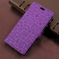 Cartoo zapínací peněženkové pouzdro na Asus Zenfone Live ZB501KL - fialové