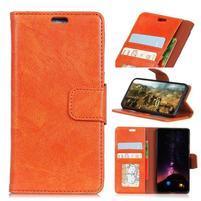 Nappa pouzdro z pravé kůže na Asus Zenfone Max Plus (M1) ZB570TL - oranžové