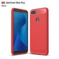 Fiber texturovaný gelový obal na Asus Zenfone Max Plus (M1) ZB570TL - červený