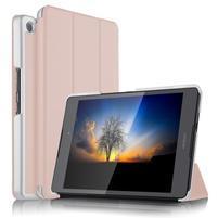 Trifold PU kožené polohovatelné pouzdro na Asus ZenPad 3 8.0 Z581KL - růžovozlaté