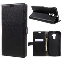 Standy PU kožené peněženkové pouzdro na BlackBerry DTEK60 - černé