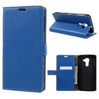 Standy PU kožené peněženkové pouzdro na BlackBerry DTEK60 - modré