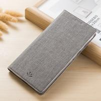 Vintage peněženkové PU kožené pouzdro na BlackBerry Keyone - šedé