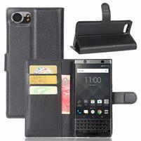 Graines knížkové PU kožené pouzdro na BlackBerry Keyone - černé