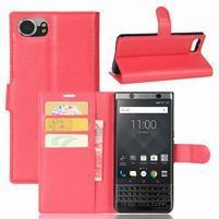 Graines knížkové PU kožené pouzdro na BlackBerry Keyone - červené