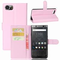 Graines knížkové PU kožené pouzdro na BlackBerry Keyone - růžové
