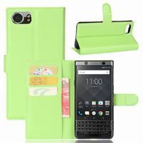 Graines knížkové PU kožené pouzdro na BlackBerry Keyone - zelené