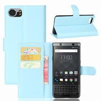 Graines knížkové PU kožené pouzdro na BlackBerry Keyone - světlemodré