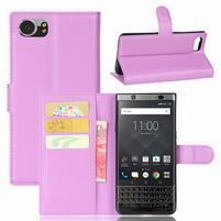 Graines knížkové PU kožené pouzdro na BlackBerry Keyone - fialové