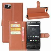 Graines knížkové PU kožené pouzdro na BlackBerry Keyone - hnědé