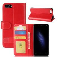 Wallet PU kožené pouzdro na Cubot Rainbow 2 - červené