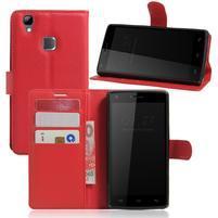 Wallet PU kožené pouzdro na Doogee X5 Max/X5 Max Pro - červené