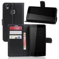 Wallet PU kožené puzdro na Doogee X5 Max/X5 Max Pro - čierne