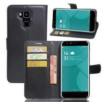 Wallet PU kožené pouzdro na Doogee Y6 - černé