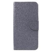 Třpytivé peněženkové pouzdro na Doogee Y6 - šedé
