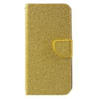 Třpytivé peněženkové pouzdro na Doogee Y6 - zlaté