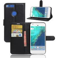 Litch PU kožené zapínací pouzdro na Google Pixel XL - černé