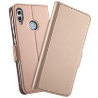 Leas PU kožené peněženkové pouzdro na mobil Honor 10 Lite a Huawei P Smart (2019) - rosegold