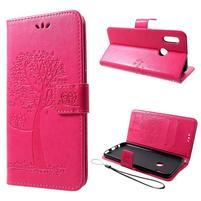 Tree PU kožené peněženkové pouzdro pro Honor 10 Lite a Huawei P Smart (2019) - rose