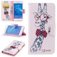 Emotive peněženkové pouzdro na mobil Huawei Nova Smart - žirafa