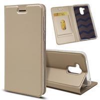 Magnetic PU kožené pouzdro na Honor 6C - zlaté