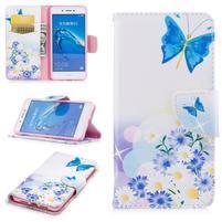 Emotive peněženkové pouzdro na mobil Huawei Nova Smart - modří motýlci