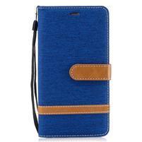 Jean textilní/PU kožené pouzdro na Honor 6X - světle modré