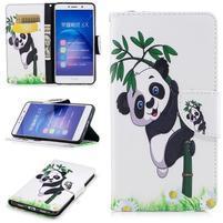 Patty PU kožené pouzdro na Honor 6X - panda na bambusu