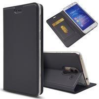 Magnetic PU kožené peněženkové pouzdro na Honor 6X - černé