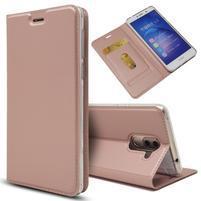 Magnetic PU kožené peněženkové pouzdro na Honor 6X - růžovozlaté