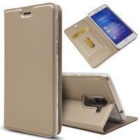 Magnetic PU kožené peněženkové pouzdro na Honor 6X - zlaté