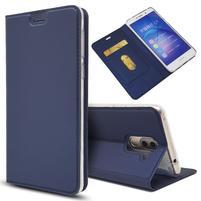 Magnetic PU kožené peněženkové pouzdro na Honor 6X - modré