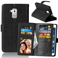 Wallet PU kožené peněženkové pouzdro na Honor 7 Lite - černé