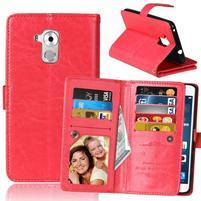 Wallet PU kožené peněženkové pouzdro na Honor 7 Lite - červené