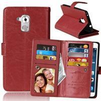 Wallet PU kožené peněženkové pouzdro na Honor 7 Lite - hnědé