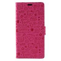 Cartoo PU kožený obal na mobil Honor 7X -  rose