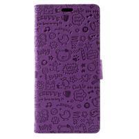 Cartoo PU kožený obal na mobil Honor 7X -  fialové