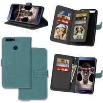 Wallet PU kožené pouzdro s 9 přihrádkami na Honor 8 Pro - modré