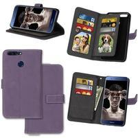 Wallet PU kožené pouzdro s 9 přihrádkami na Honor 8 Pro - fialové